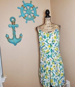 Old Navy tropical print fit n flare dress